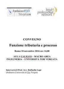 Convegno funzione triburaria e processo tor vergata legalprofessional network